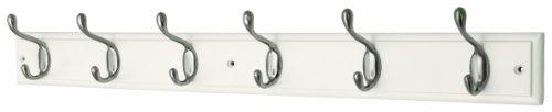 Headbourne Azhr4090 - Perchero (6 ganchos, níquel y madera), color blanco