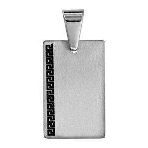 1001 Bijoux - Pendentif Acier Plaque GI Motif Grec Noir sur côté a9802c82c52
