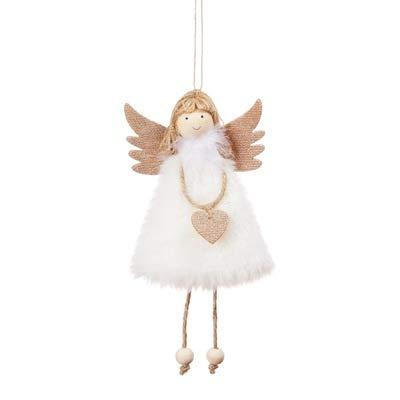 AQZMEA Weihnachtsdekorationen Anhänger Weihnachten Süße Liebe Plüsch Feder Engel Weihnachtsbaum Kreative Anhänger 17x10cm Weiß Plus Liebe Engel Anhänger