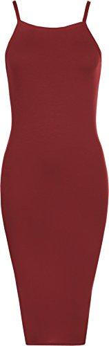 WearAll - Damen Ärmellos Strappy Ebene Hoch Hals Strecke Bodycon Midi- Kleid - 6 Farben - Größe 36-42 Wein