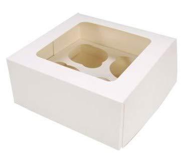 25 Stk Cupcake Muffin Box 4er Aufbewahrungsbox Geschenkbox Karton Verpackung inkl. Einlage
