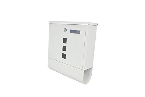 1PLUS Briefkasten Postkasten Wandbriefkasten mit Zeitungsrolle/Zeitungsfach mit schützender Pulverbeschichtung (mit Namensschild - Weiß)