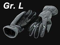 infactory Winter-LED-Handschuhe: Kuschelige Fleece-Handschuhe mit LED-Beleuchtung, grau Gr. L (Handschuhe mit LED-Lichter) - 2
