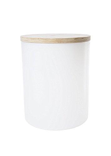 Hohe Patio Tisch (8 seasons design | LED Leuchtzylinder Beistelltisch Hocker Pflanzkübel Shining Drum (45cm hoch, Ø 37 cm, RGB Farbwechsel, dimmbar, Holzabdeckung, 10l, Indoor & Outdoor) weiß)