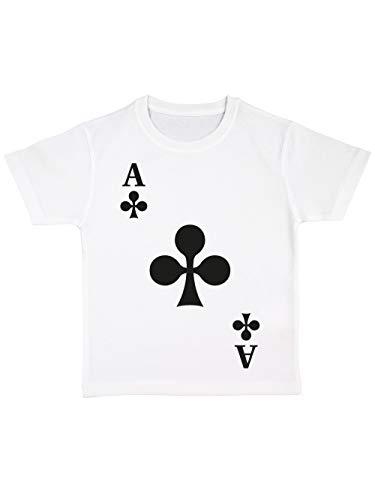 clothinx Kinder T-Shirt Bio Karneval & Fasching Spielkarte Kreuz Ass Kostüm Weiß Größe (Gruppe Karte Kostüm)