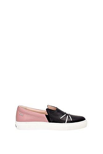 61KW4005MISTYROSE Karl Lagerfeld Pantoufle Femme Cuir Noir Noir