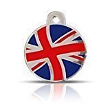 SMALL (22mm) PATRIOT UNION JACK FLAG DISC Engraved Cat/ Dog / Pet ID NAME Tag. A very **high quality** durable pet tag. PLEASE EMAIL US WITH ENGRAVING DETAILS WHEN PLACING YOUR ORDER.