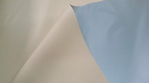 PVC impermeable, tejido pvc opaco y ignifugo. Por una cara de color gris y por la otra de color beig