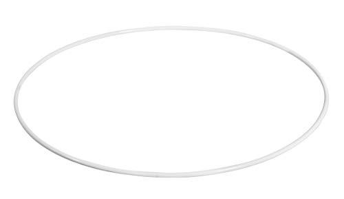 Rayher 2505800 Metallring, weiß beschichtet, 50 cm ø, Stärke ca. 4 mm, Drahtring zum Basteln, für Wickeltechnik, Traumfänger Ring, Makramee Ring, Floristik