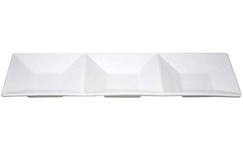 COSY & TRENDY E034734 Plat apéro 3 compartiments, Porcelaine, 11X34,5 cm