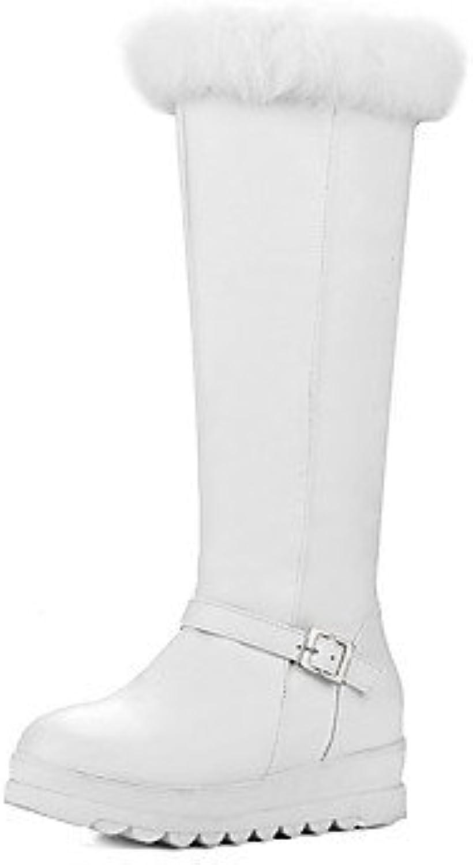 RTRY Zapatos De Mujer Polipiel Nieve Del Invierno Botas Botas Botas De Moda Enredaderas Plataforma Redonda Rodilla...