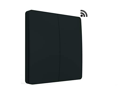 codalux Funkschalter / Lichtschalter S-Serie Taster 2 Tasten schwarz - kinetischer Funklichtschalter ohne Batterie - batterielos piezo außen Feuchtraum wasserdicht IP67 mit 5 Jahren Garantie -