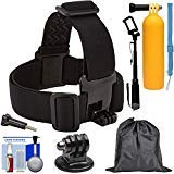 Sunpak Action Camera Head Strap Mount with Buoy Hand Grip + Wrist Strap + Selfie Stick + Adapter + Pouch + Kit