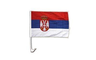Autofahne Autoflagge Serbien mit Wappen - 30 x 40 cm
