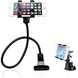 BESTEK Gooseneck Phone Stand Holder +Car Suction Mount Combo, Fits iPhone and other