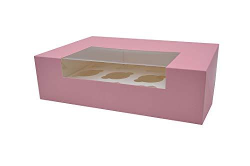 Sugar and Cakes 10 STK Cupcake Muffin Box 12 Cup Aufbewahrungsbox Geschenkbox Karton Verpackung inkl. Einlage - Rosa