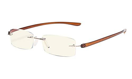 Eyekepper Computer lesen Brille,Blau Licht Filter Randlos Leser,UV-Schutz, Gold Rahmen Brauner Arm +0.50