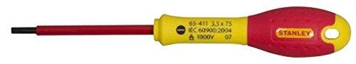 Stanley FatMax Schraubendreher Schlitz (isoliert, Parallelspitze 3,5 mm, 75 mm Länge, Chrom-Vanadium, Soft-Grip) 0-65-411