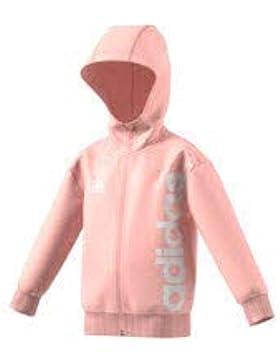adidas Linear Full Zip Chaqueta con Capucha de, Infantil, DJ1533, Haze Coral/White, 140