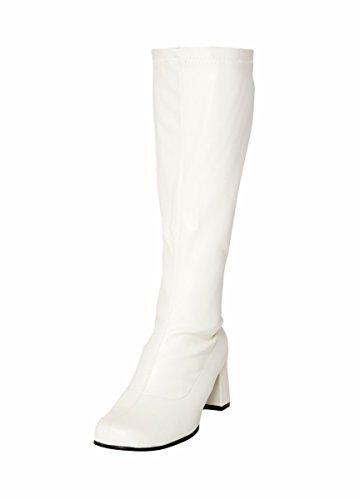 Party-Stiefel, kniehoch, Kunstleder, Größe 38, Weiß (Weiß Go Go-stiefel)