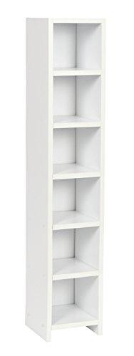 ts-ideen Étagères à CD 6 Cases Espace de Stockage Bois Blanc 105 x 20 cm