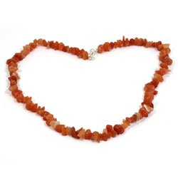 Carnelian Gemstone Chip Necklace with Clasp