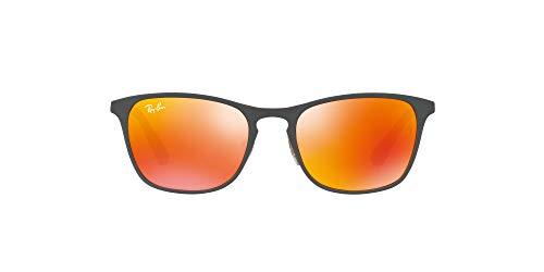 Ray-ban junior 9539s occhiali da sole, grigio (rubber grey/yellow/flashorange), 48 unisex-bambini