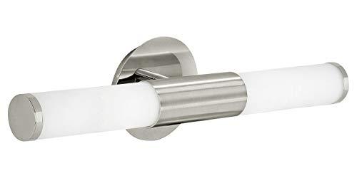 EGLO Wandleuchte, Stahl, E14, 40 W, Nickel-matt/Weiß, 46 x 11 x 11 cm