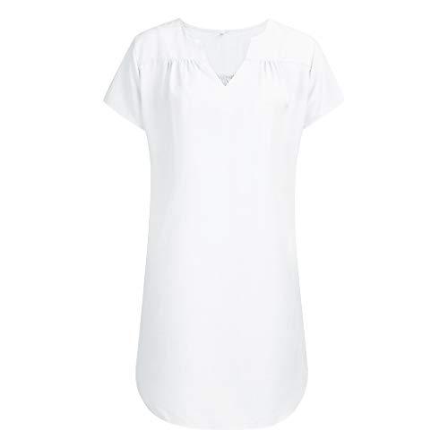 DIPOLA Frauen Sommer V-Ausschnitt Kurzarm Shirt Casual Top Kleid Shirt Damen T-Shirt Oberteile Damen Sommer Oberteile Frauen Damen Kleider