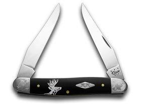 CaseXX XX Deer Scene Black Delrin Scrolled Bolster 1/500 Muskrat Pocket Knife Knives