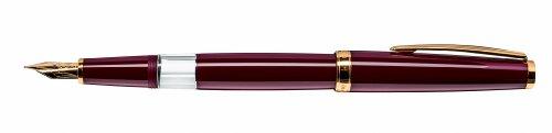 CLEO Classic bordeaux +++ Kolben-Füllfederhalter, 14 KARAT GOLDFEDER (F) +++ vergoldete Zierringe...