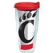 Tervis 1135771 Cincinnati University Colossal Wrap Individual Tumbler with Red lid, 24 oz, Clear by Tervis