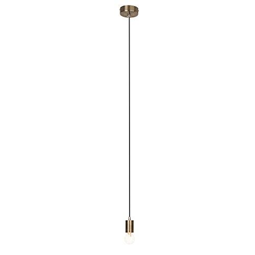 Modernes Kupfer Pendel/Lampenfassung mit Textilkabel, schlichtes Design, 1x E27 max. 60W, H 118cm, Metall, messing antik - Antik Messing-mantel