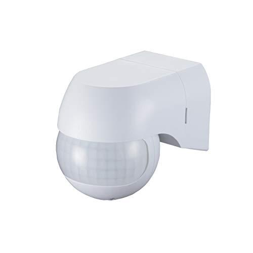 Popp-Außen-Bewegungsmelder, IP44, LED, Wandmontage, programmierbar, Infrarotsensor, Reichweite 12m / 180°, max. 800 W / 500 W.