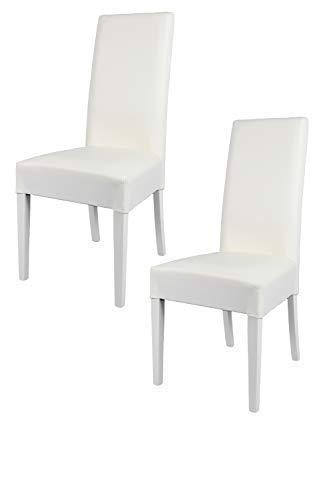 Weiße Holz-küche-stuhl (Tommychairs - 2er Set Moderne Stühle Luisa für Küche und Esszimmer, Struktur aus lackiertem Buchenholz Farbe Weiss, Gepolstert und mit weissem Kunstleder bezogen)