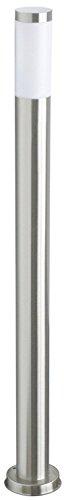 LineteckLED® - E11.001.80 - Palo da esterno - Lampione basso da giardino per sentiero interno/esterno con base di fissaggio altezza 80cm in acciaio inox spazzolato con portalampada attacco E27 con lampadina LED di ultima generazione SMD in vetro in omaggio!