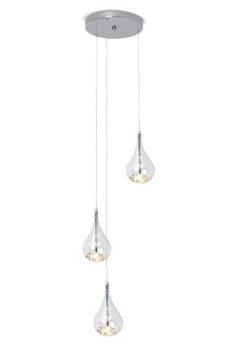 Brilliant g14776/15 maira - lampadario da sospensione con paralumi in vetro a goccia contenenti biglie di vetro, struttura in metallo cromato, 3 luci regolabili in altezza individualmente, 3 lampadine da 20 w con attacco g4 incluse