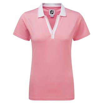 Footjoy Ladies Stretch Pique Open V-Neck Polo Shirt Ladies Light Pink Extra Large