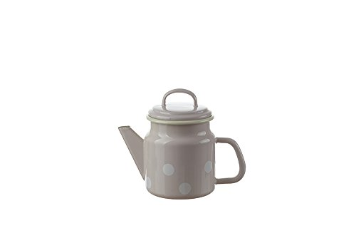 Münder-Emaille - Teekanne - Rosa mit weißen Tupfen - Ø12xH17cm - 1 L