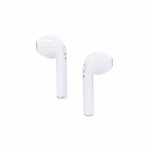 PAIRE D\'Écouteurs Bluetooth, Gestop Mini V4.2 sans Fil avec Microphone Compatible toute Marque + pdf en français [Une paire] (Blanc)