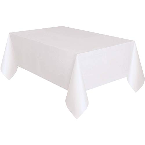Unique Party - 50180 - Nappe en Plastique Doublée en Papier - 2,74 x 1,37 m - Blanc