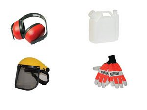 Mesh safety visor, ear defenders, gloves and fuel mixing bottle - Kit F by Chainsaw Specialists (Visor Mesh)