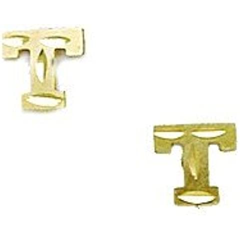 14K Giallo Oro Iniziale T Stamping Bambini Orecchini–dimensioni: 6x 6mm - 14k Iniziali Orecchini