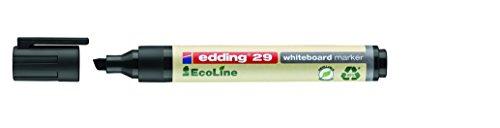 edding 29-001 - Caja con 10 marcadores para pizarra blanca, punta biselada de trazo 1-5 mm, color negro