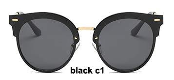 LKVNHP Festival Uv400 Polarisierte Cat Eye Sonnenbrille Damen Spiegel Mode Hohe Qualität Anti-reflektierende Frauen BrilleWPGJ102 schwarz C1