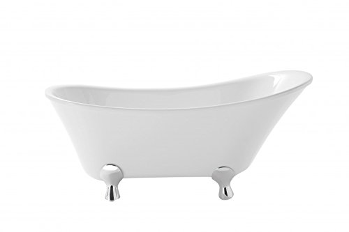 Casa Padrino Art Deco Badewanne freistehend Weiß Modell He-Gra 1550mm - Freistehende Retro Antik...