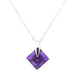 QP Jewellers Femme 14carats (585/1000) Or blanc|#Gold Carré Violet Amethyst FINENECKLACEBRACELETANKLET