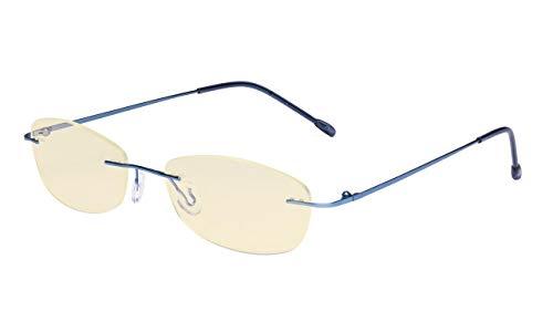 Eyekepper Damen Blau Licht Blockierung Computer Brille mit Gelb Filter Linsenrandlos Stilvoll Klein Brille,Blau