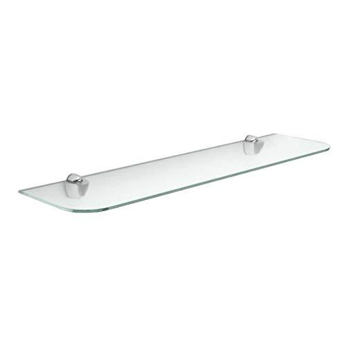 Ve.ca-italy mensola in vetro satinato 40x22cm spessore 12 mm angoli arrotondati inclusi supporti viti e tasselli per il montaggio