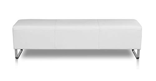 NEUERRAUM Lange Bauhaus Lederbank Sitzbank Echt Leder Fuss Edelstahl. Abbildung (Echt) Leder Weiß